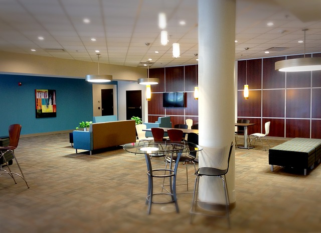A photo of a common area in an office building